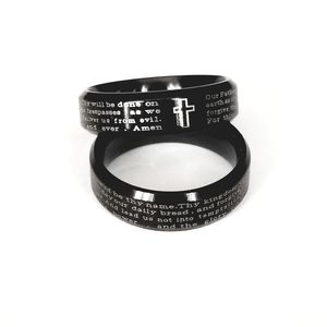 New stainless steel black lords prayer ring